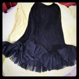 Antique crepe long black ruffled skirt